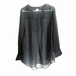 NWT Merona Black Long Sleeve Sheer Blouse
